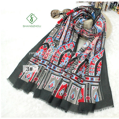 Lady Fashion Scarf with National Castle Printed Satin Silk Shawl pictures & photos