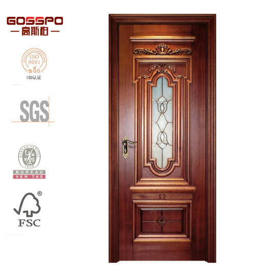 China Kitchen Interior Craft Glass Solid Oak Wood Door Design Gsp3