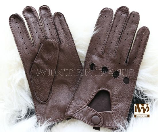 Gym Fingersless Leather Gloves for Mens Adult Maroon Deerskin Workout Gloves