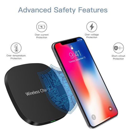 Ultra-Thin LED Light Fast Wireless Charger 10W Charging Pad for iPhone Xs  Samsung S9