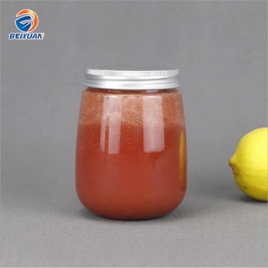 500ml 16oz Wholesale Creative Plastic Round Food Grade Transparent Round Drink Pet Juice Yogurt Bottle with Lid