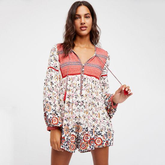 Hot Selling Sexy Beach Deep V-Neck Long-Sleeve Printed Women's Dress