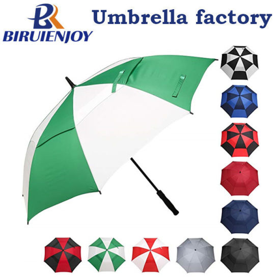 Strong Quality Double Canopy Vented Golf Umbrella Green White with Custom Logo Printing for Promotion/Gifts