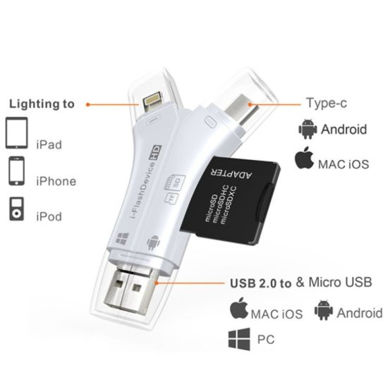 4 In1 Memory Card OTG Card Reader for iPhone Android