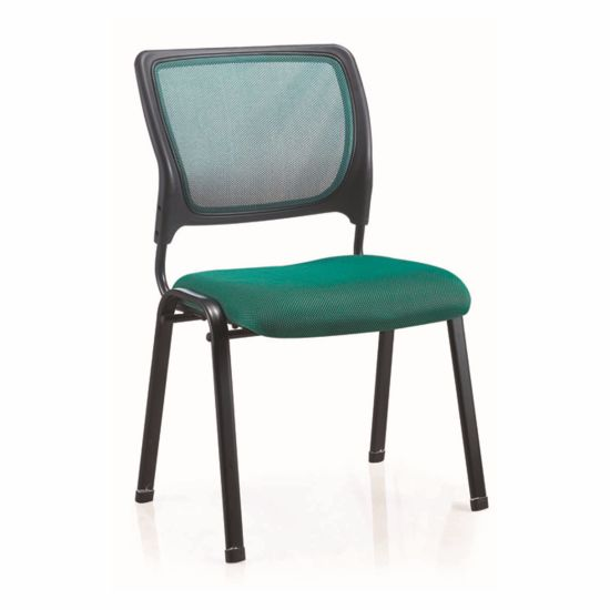 Popular Cleanable 4 Legs Public Fixed Guest Metal Chair Without Armrest