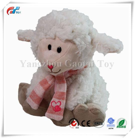 9'' Stuffs Peach & Cream Lamb Chop Sitting Stuffed Animal Toy