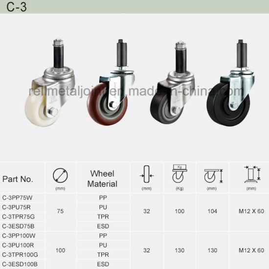 PU Rubber Wheel Thread Stem Top Industrial Caster (C-3)