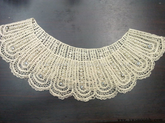 Fashion Detachable Rhinestone Pearls Collar Cotton Fabric Beads Dress Accessories
