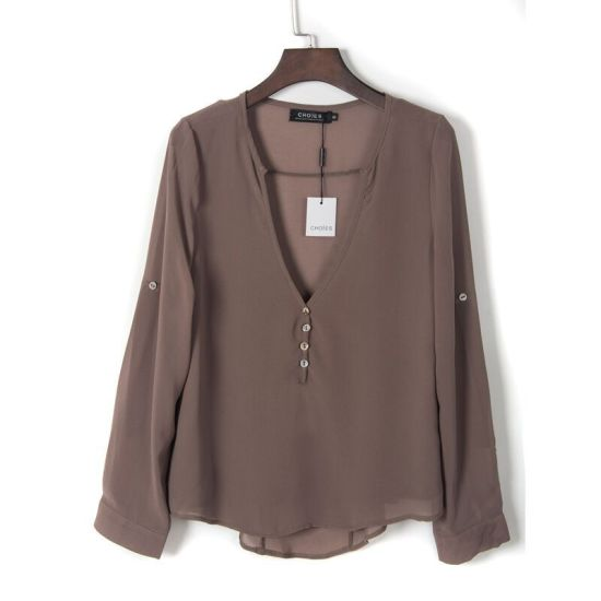 Women′s Sexy Fashion Loose Chiffon Tops Long Sleeve V Neck Casual Blouse pictures & photos