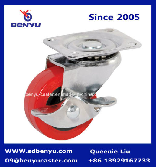Light Duty Rigid Type Red PU Caster pictures & photos