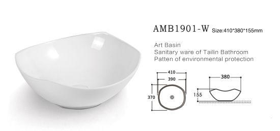 Amb1901-W Bathroom Sanitary Ware Fashion Art Sink Ceramic Hand Wash Basin