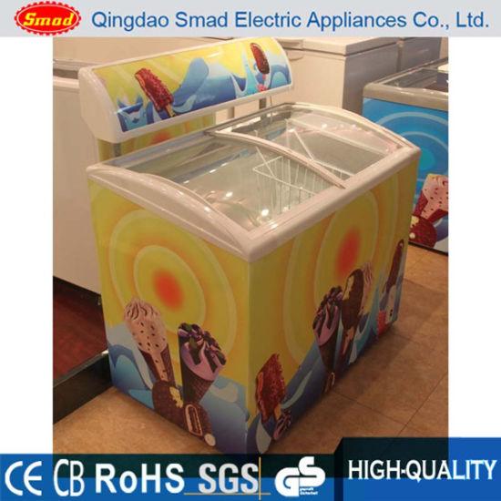 Commercial Glass Top Sliding Door Ice Cream Display Chest Freezer