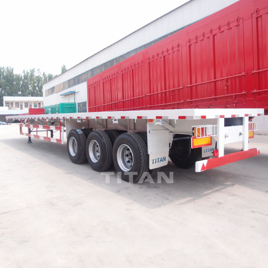 China 40t 3 Axle Flat Bed Container Car Transport Semi