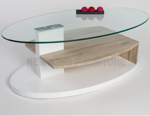 Simple Design Wood Base Tea Table Oval Glass Top Coffee Nk Ctb015