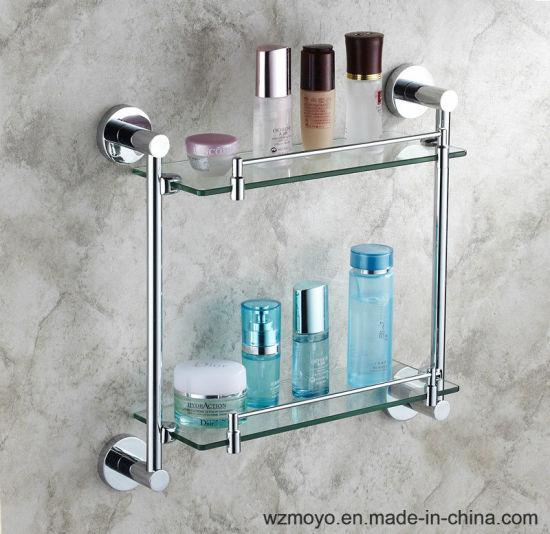 China Bathroom Accessories Double Glass Shelves - China Bathroom ...