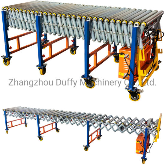 Belt Driven Powered Steel Roller Motorized Flexible Conveyor System for Transfer Pallets