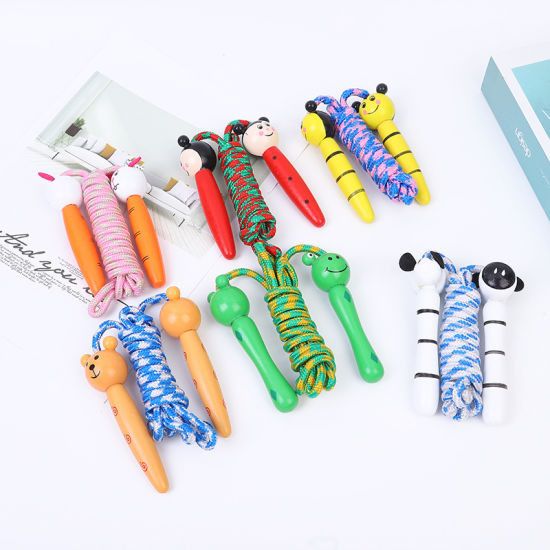 Kids Jump Ropes Wood Handle Sport Bodybuilding Fitness Lovely Cartoon Skipping Ropes 6 Colors