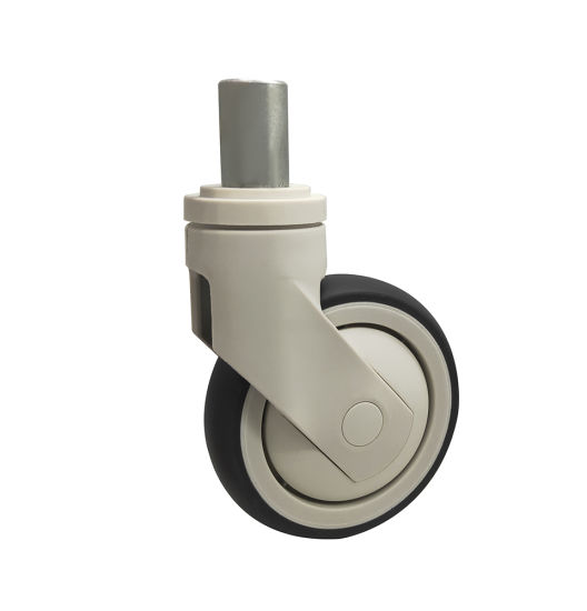 Dlpo Manufacturer 5 Inch M28*45 Solid Stem Swivel TPR/PA6 White Cart Medical Bed Wheels