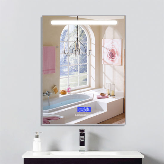 Waterproof Wall-Mounted Three Colors LED Dimmable Round Lights Anti-Fog Bathroom Mirrors