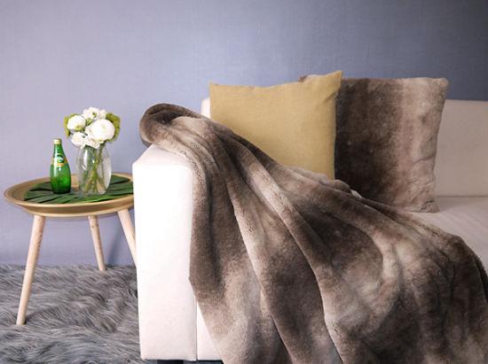 Luxury Printed Rabbit Fur Cushions Faux Fur Pillows