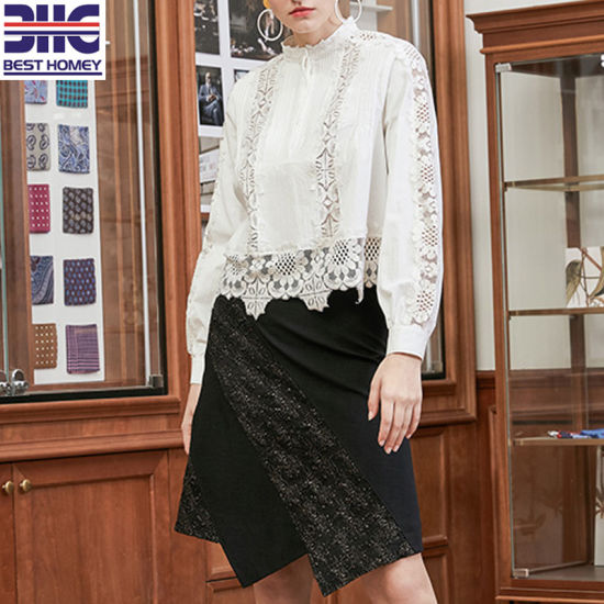 Irregular Lace Design Patched Bust Dress Ladies Fashion Clothes