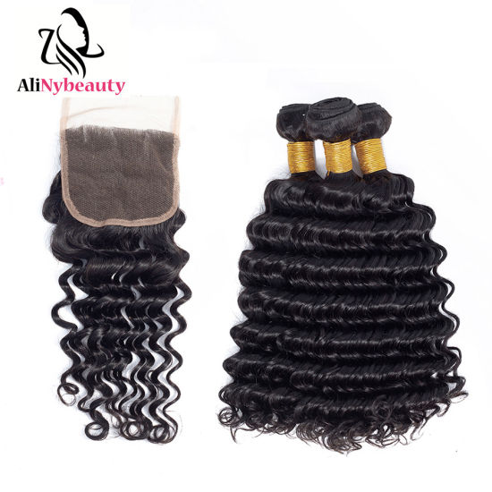 Virgin Hair Weave with Closure Unprocessed Human Hair Bundles with Lace Closure