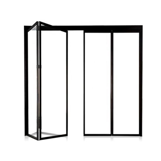 Aluminium Alloy Tough Material Bulletproof Folding Door, Customized Size Glass Door