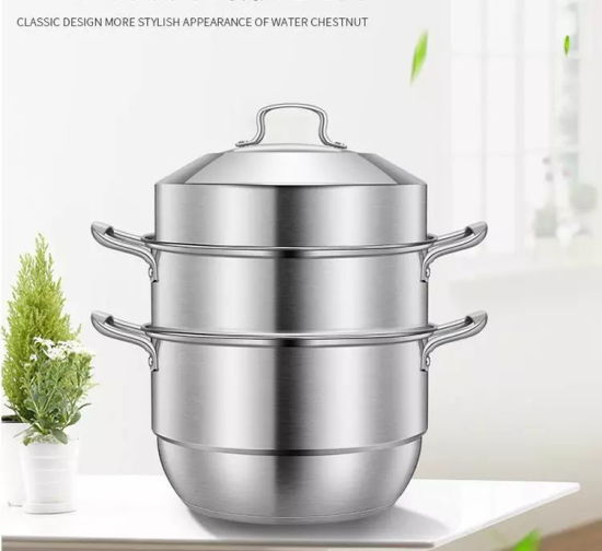 Double Layer Steamer Pot 304 Stainless Steel Cooking Food Steamer Induction with Glass Lid