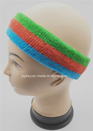 High Quality 3 Colors Striped Terry Cotton Sports Headband
