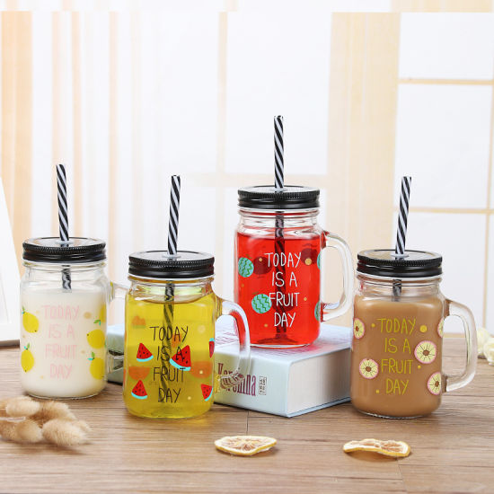 OEM Glass Bottle Mason Jar with Handle Lid Straw