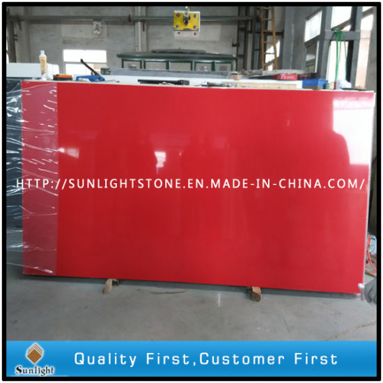 Engineered Red Artificial Quartz Stone Slabs for Kitchen Counter