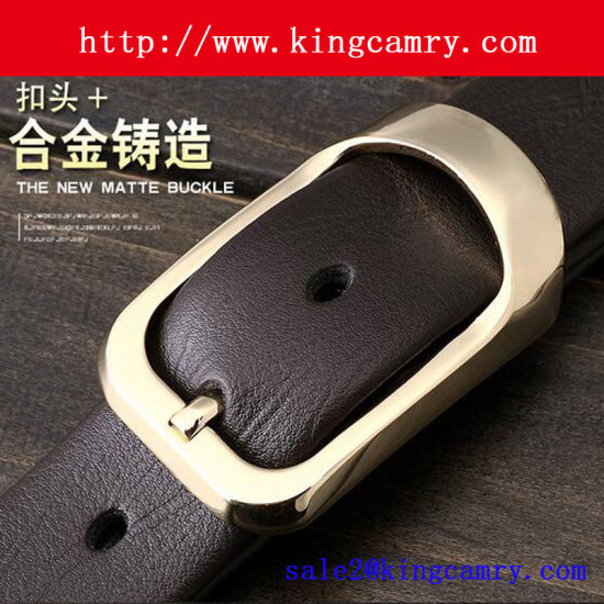 Custom Logo Real Leather Belt with Alloy Buckles pictures & photos