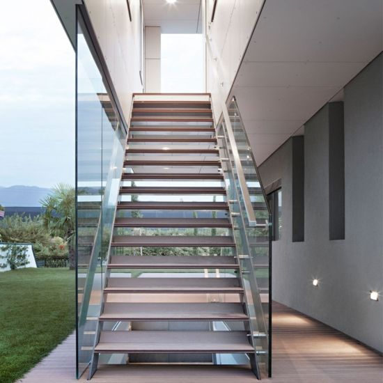 China Double Metal Stair Stringer Hardwood Staircase Design - China