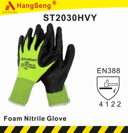 Foam Nitrile Coated Safety Work Glove (ST2030HVY)