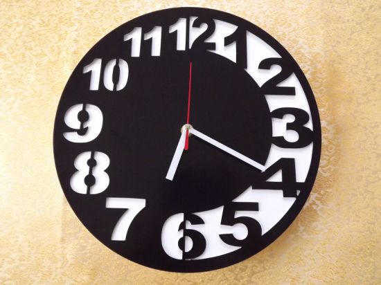 Home Decoration Black Colour Acrylic Wall Clock pictures & photos