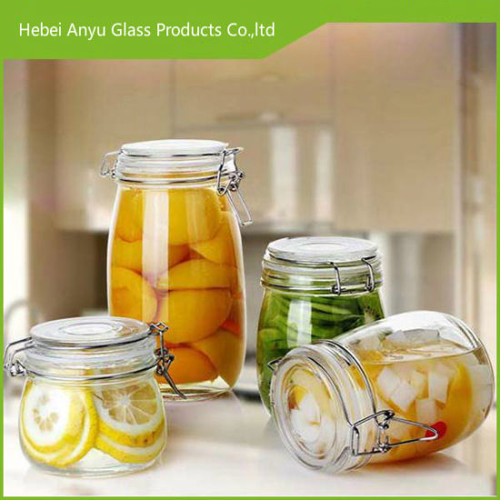Nice 4PCS Storage Glass Jar with Ceramic Lid pictures & photos