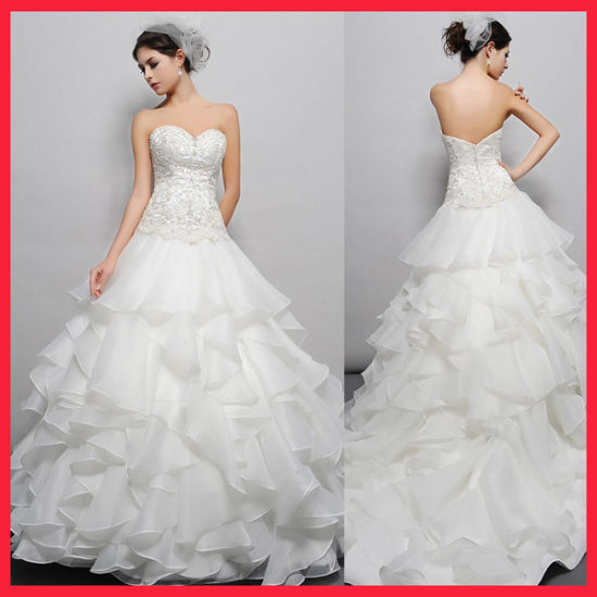Hot Item Beaded Lace Layered Ball Gown Wedding Dress