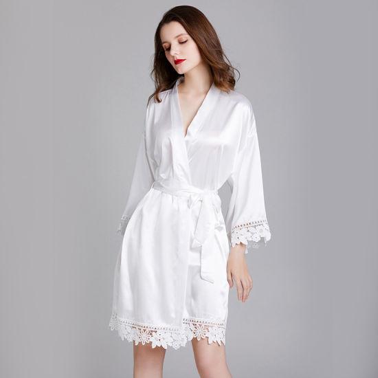 China Guangzhou Manufacturer Amazon Hot Selling Robes Sexy Silk Lady Nightdress Dress Satin Pajamas Silk Pajamas Women China Home Wear And Pajamas Price