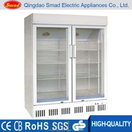 Smad Wholesales Price Big Capacity Double Glass Door Showcase