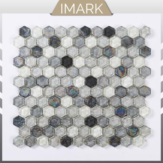 White Hexagon Tile Iridescent Gl