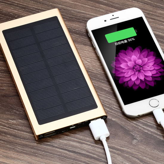 Newest LED Light Utral Slim Crystal LED Solar Power Bank
