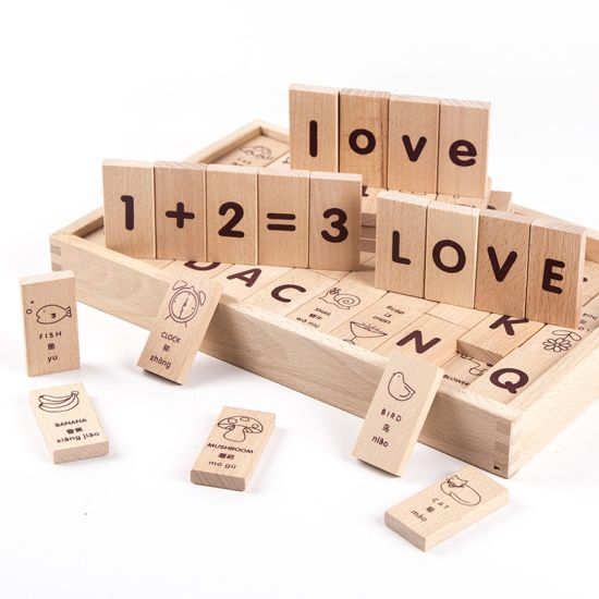 Wooden Children Educational Cartoon Alphabet Numbers Learning Dominos  Building Blocks