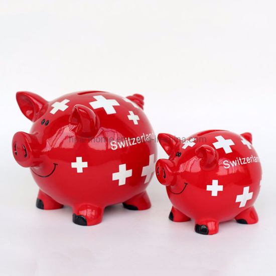 Customized Switzerland Glossy Red Color Resin Lovely Piggy Money Box