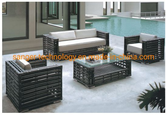 4 Pieces Loveseat Outdoor Garden Rattan Furniture Sets for Conversation, Wicker Chairs and Table Black
