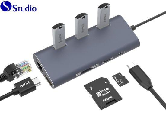 USB Hub 4 Port 8 in 1 USB Speed Hub Converter to Type C Adapter Tablet USB Hubs