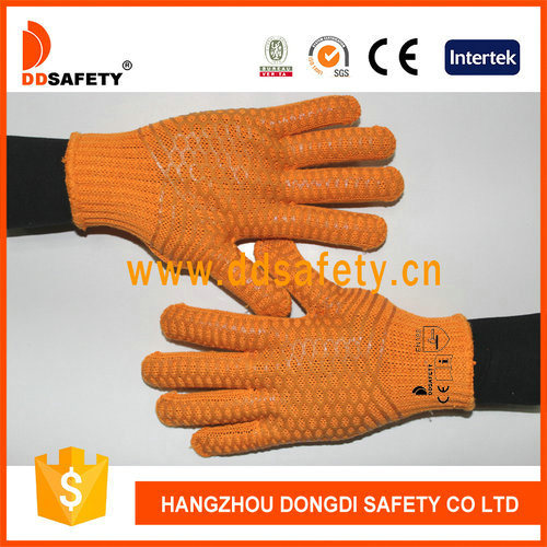 Safety Hand Protect Heavy Weight Orange Liner with PVC Honey Comb Cotton Glove