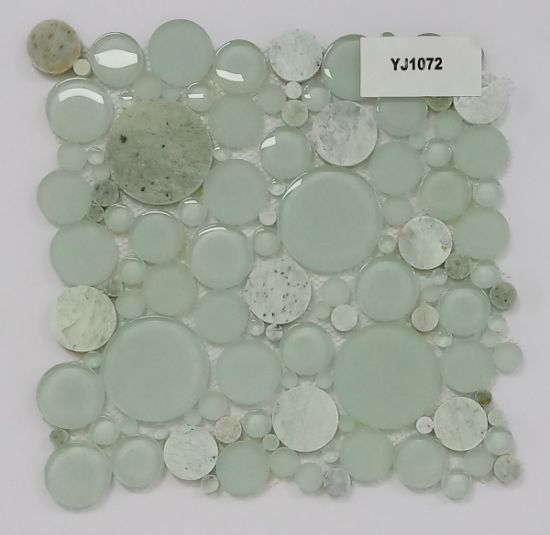 Light Green Round Glass Mix Stone Mosaic with Wholesale Price for Kitchen Backsplash and Bathroom