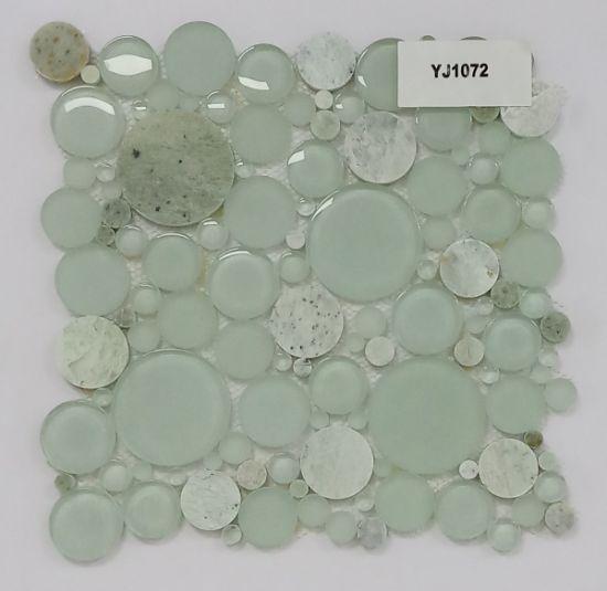 China Light Green Round Glass Mix Stone Mosaic With Wholesale Price For Kitchen Backsplash And Bathroom China Glass Mosaic Mosaic Tile