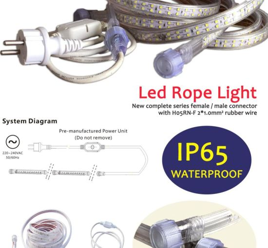Female and Male Connector IP65 LED Rope Light