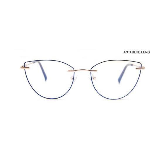 Custom Classical Fashion Anti Blue Light Blocking Computer Eyeglasses Frame Metal Cat Eye Optical Glasses Frame